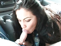 Gorgeous brunette babe sucks dick in the car tubes