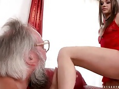 Old guy sucks her toes and kisses her ass tubes