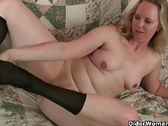 Mom's new pantyhose gets her all hot and horny tubes