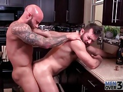 Bears fuck in the kitchen and cum on each other tubes