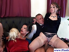 Fetish babes group sex with pissdrinking tubes