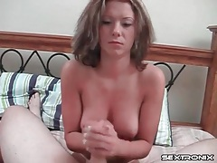 Cute natural tits on girl giving a handjob tubes