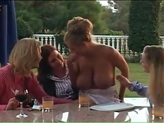 Four big tits lesbians strip nude and suck tits tubes