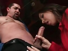 Stripper blows a guy on her stage tubes