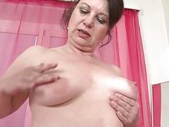 Mature fondles her big ass and saggy tits tubes