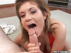 Sexy red halter top on cocksucking blonde girl tubes