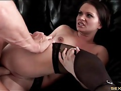 Beautiful brunette moans as she fucks lustily tubes