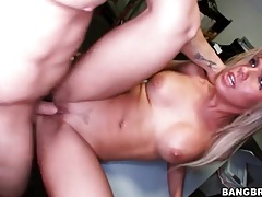 Round tits blonde sucks a dick in back office tubes