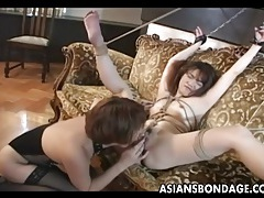 Dainty japanese slave slut finger fucked hard tubes