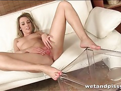 Leggy girl gets fully naked and takes a piss tubes