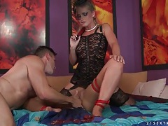 Sub girl sucks a dick in threesome video tubes