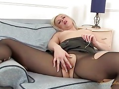 Leather skirt and pantyhose on hot milf tubes