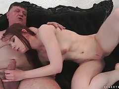 Tight young redhead sits on old man dick tubes