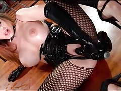 Sexy latex gloves on dildo fucking brunette tubes