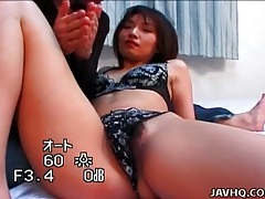 Lace panties japanese girl likes pussy rubbing tubes