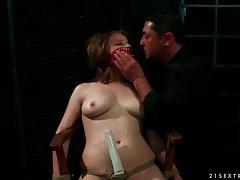 Curvy girl in bondage moans for dildo play tubes
