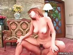 Tight wet japanese pussy rides his dick meat tubes