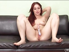 Lovely redhead in high heels masturbates solo tubes