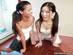Teen girls masturbate on the table and eat pussy tubes