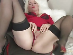 Blonde milf amber jewell in seamed stockings tubes