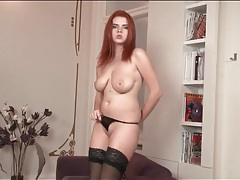Redheaded marina visconti masturbates in stockings tubes