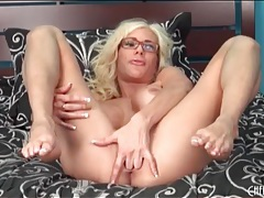 Big fake titty babe puma swede sits on toy tubes