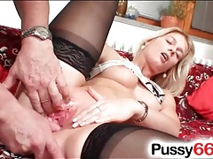 Old man fingers her sexy blonde pussy tubes