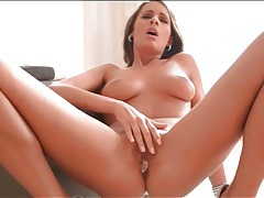 Pleasure beads fill the pussy of brunette girl tubes