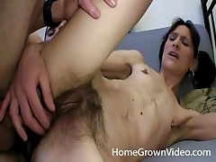Skinny girl fucked in hairy cunt and asshole tubes