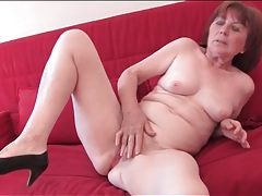 Red panties are sexy on a solo mature tubes