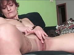 Cute milf gently rubs her beautiful pussy tubes