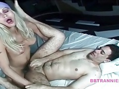 Blonde tgirl anally fucks a chubby guy tubes