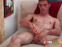 Slippery big cock slowly stroked in gay porn tubes