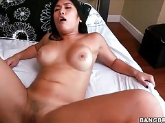 Latina grinds her hot cunt all over his dick tubes