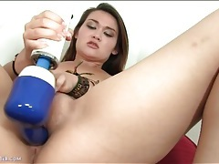 Thick ass asian girl loves her dildo tubes