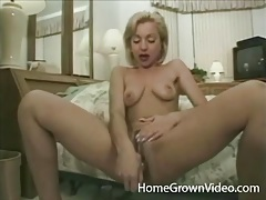 Toy fucking blonde joined by guys she blows tubes