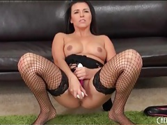Black fishnet stockings are sexy on masturbating girl tubes