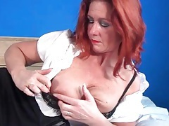 Skirt and blouse on mature redhead in erotic porn tubes