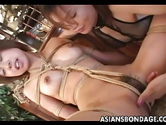Enticing japanese babe fingered by her domina tubes