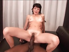Big black cock fucks skinny girl in hairy cunt tubes
