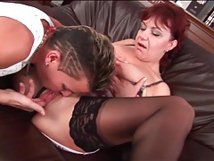Milf redhead opens her legs for lusty pussy eating tubes