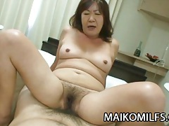 Michiko okawa - japanese granny riding on a young cock tubes