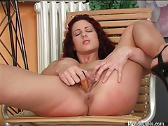 Chick with curly red hair has solo dildo sex tubes