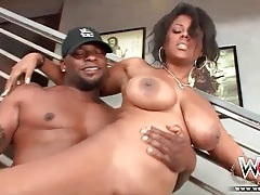 Big ass black girl strips off panties and fucks tubes