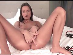Solo slut with sexy eyes sucks and fucks a dildo tubes