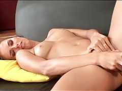 Hot girl on her back masturbating her cunt tubes