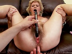 Hairy granny fingered and fucked in her cunt tubes