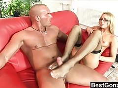 Cumming all over aleska's pretty feet tubes
