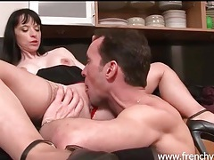 Girl with great titties fucked in her kitchen tubes