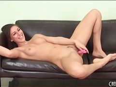 Cute brunette with great tits has fun masturbating tubes